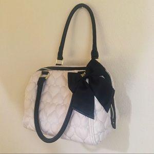 Betsey Johnson Light Pink & Black Quilted Handbag